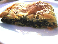 Spinach pie with home made filo