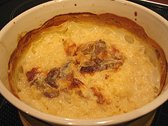 Baked rice milk pudding