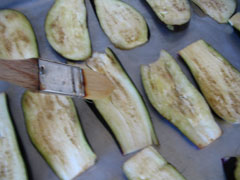 Basting the eggplants